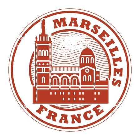 france stamp: Grunge rubber stamp with words Marseilles, France inside