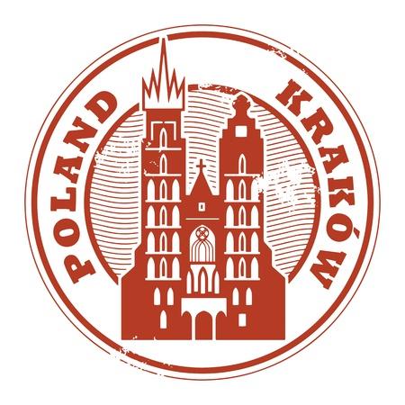 timbre voyage: Tampon en caoutchouc grunge avec des mots Cracovie, Pologne intérieur