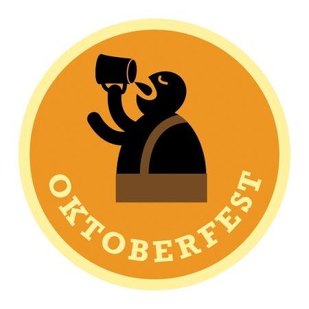oktober: Oktoberfest Beer label Illustration