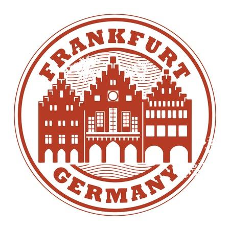 timbre voyage: Tampon en caoutchouc grunge avec des mots Francfort, en Allemagne l'intérieur