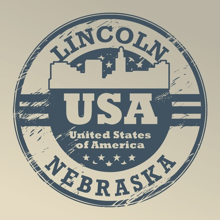 lincoln: Grunge rubber stamp with name of Nebraska, Lincoln