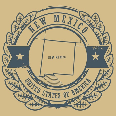 Grunge rubber stamp with name and map of New Mexico Vector