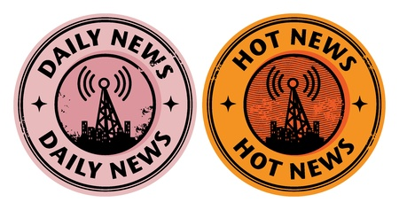 newspaper cartoons: Grunge rubber stamp with radio tower and the word News written inside the stamp