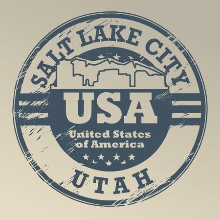 salt lake city: Grunge rubber stamp with name of Utah, Salt Lake City