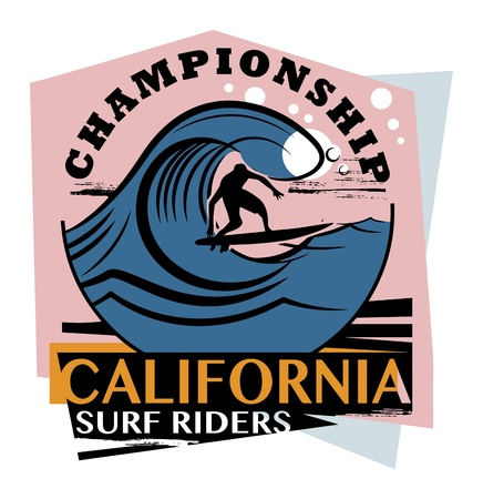 Abstract California surfer sign Vector