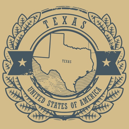 austin: Grunge rubber stamp with name and map of Texas, USA