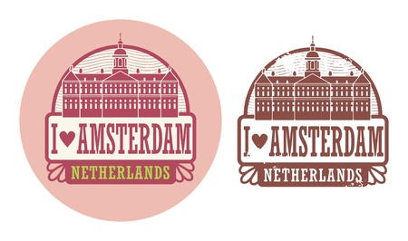 Stamp set with words Love Amsterdam, Netherlands inside Vector