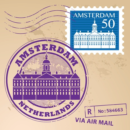 Stamp set with words Amsterdam, Netherlands inside Vector
