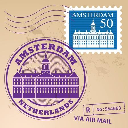 dutch: Stamp set with words Amsterdam, Netherlands inside Illustration