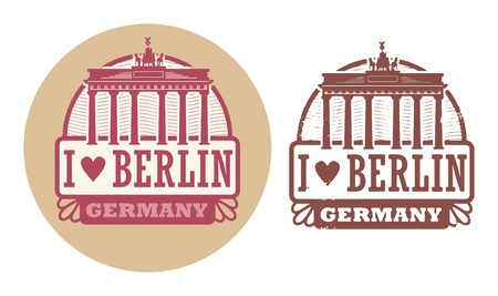 Stamp set with words Love Berlin, Germany inside Vector