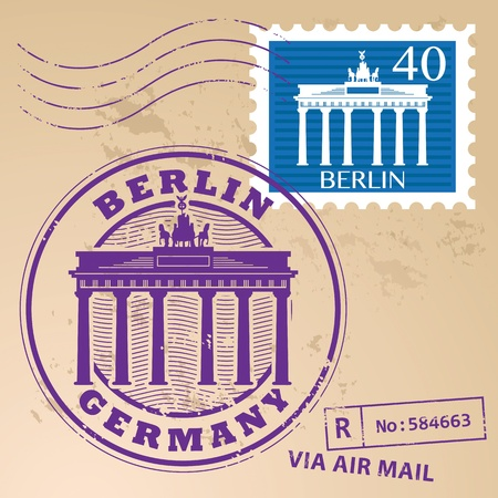 Stamp set with words Berlin, Germany inside Vector
