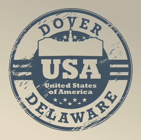 usa stamp: Grunge rubber stamp with name of Delaware, Dover Illustration