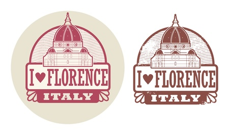 florence   italy: Stamp set with words Love Florence, Italy inside Illustration