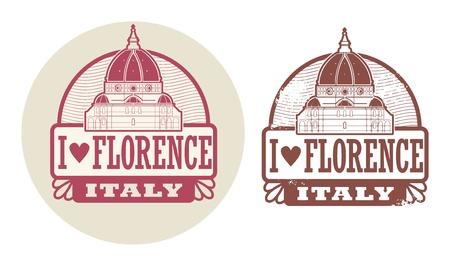 florence italy: Timbro set con parole Amore Firenze, Italia all'interno Vettoriali