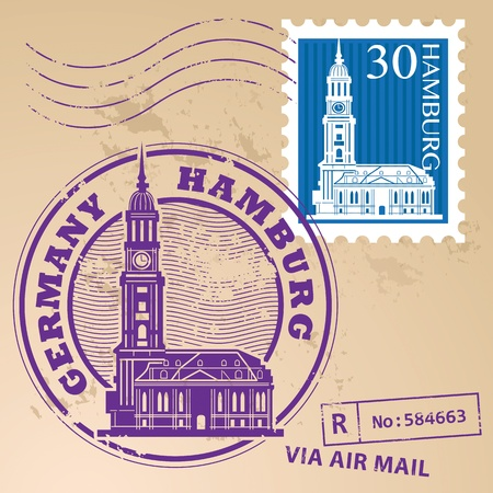 Stamp set with words Hamburg, Germany inside