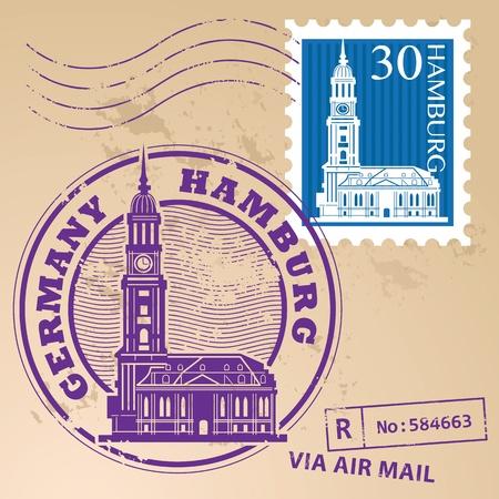 hamburg: Stamp set with words Hamburg, Germany inside