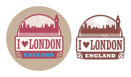 Stamp set with text Love London, England inside Vector