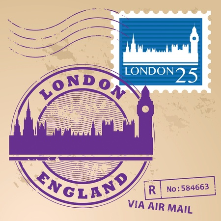 Stamp set with text London, England inside Vector