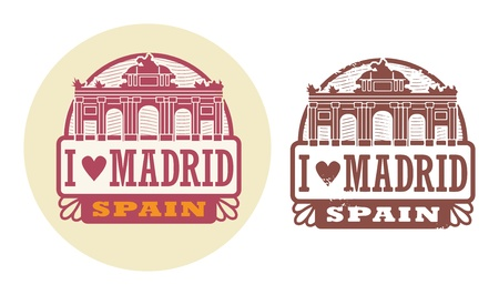Stamp set with words Love Madrid, Spain inside Vector