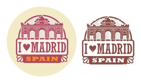 madrid: Stamp set with words Love Madrid, Spain inside Illustration