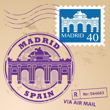 Stamp set with words Madrid, Spain inside Vector