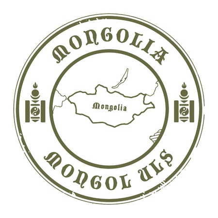 Grunge rubber stamp with the name and map of Mongolia