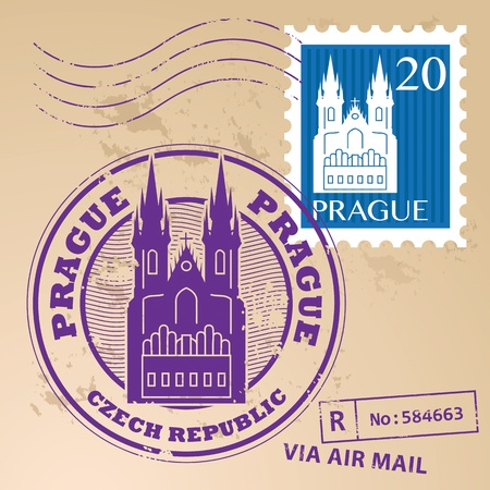 Stamp set with the name of Prague, Czech Republic written inside the stamp Vector