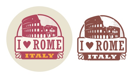 amphitheater: Stamp set with Colosseum and the word Love Rome, Italy inside