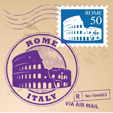 italian culture: Stamp set with text Rome, Italy inside Illustration