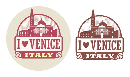 italia: Stamp set with words Love Venice, Italy inside