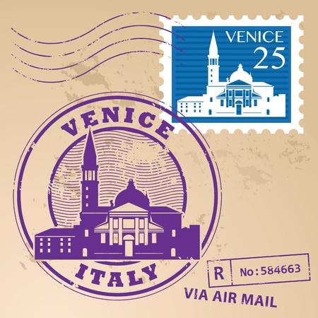 Mit Wörtern Venedig, Italien innerhalb gesetzt Stamp