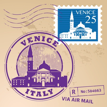 Stamp set with words Venice, Italy inside Illustration