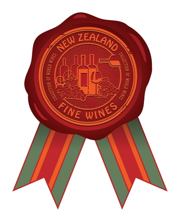 Wax seal with the words New Zealand, Fine Wines Vector