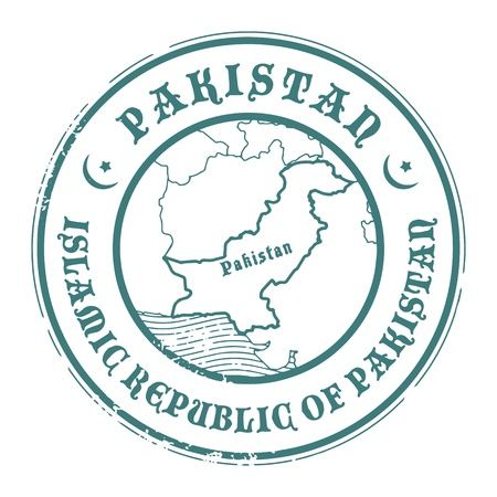 identifier: Grunge rubber stamp with the name and map of Pakistan Illustration