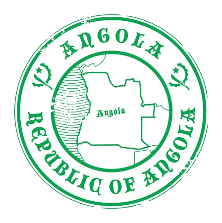 angola: Grunge rubber stamp with the name and map of Angola