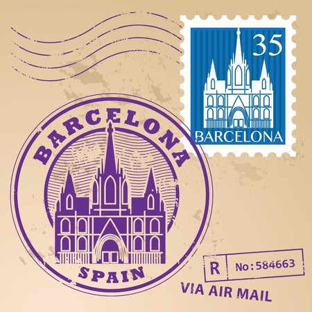 Stamp set with words Barcelona, Spain inside Illustration