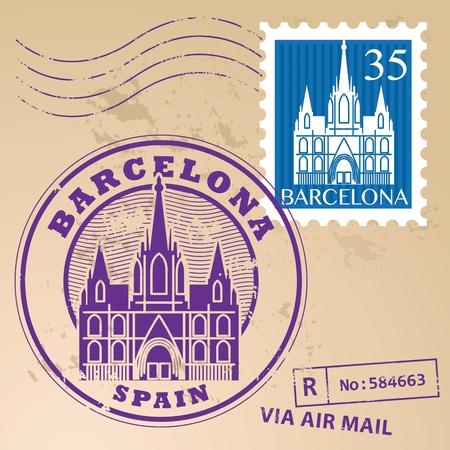 barcelona: Stamp set with words Barcelona, Spain inside Illustration