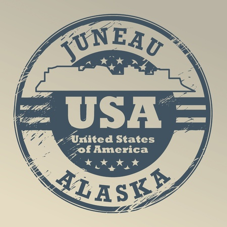 Grunge rubber stamp with name of Alaska, Juneau Vector