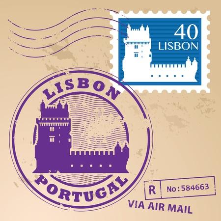 belem: Stamp set with Belem Tower and the words Lisbon, Portugal inside
