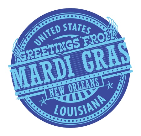 mardi gras background: Grunge color stamp with text Greetings from Mardi Gras