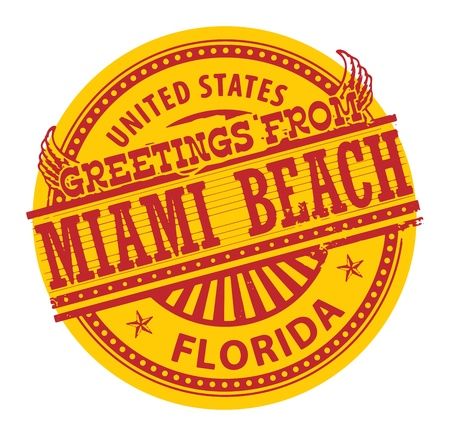 Grunge color stamp with text Greetings from Miami Beach Vector