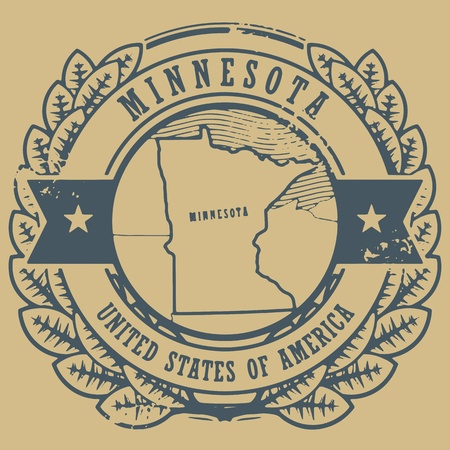 Grunge rubber stamp with name and map of Minnesota, USA Vector