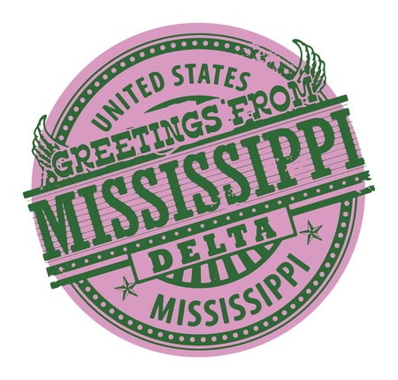 mississippi: Grunge color stamp with text Greetings from Mississippi Delta