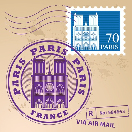 Stamp set with the name of Paris, France written inside the stamp Vector