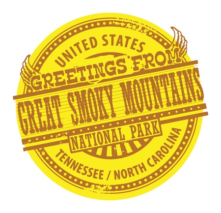 smoky mountains: Grunge color stamp with text Greetings from Great Smoky Mountains