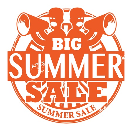 Abstract grunge rubber stamp with the words Big Summer Sale written inside the stamp Vector