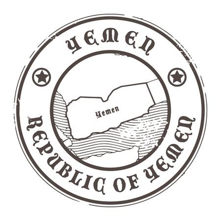 グランジ スタンプ名とイエメンの地図  イラスト・ベクター素材