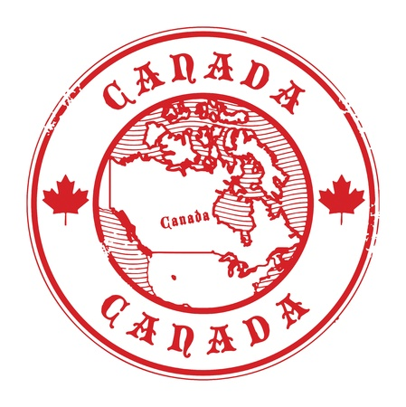 Grunge rubber stamp with the name and map of Canada Vector