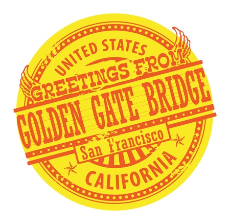 Grunge color stamp with text Greetings from Golden Gate Bridge Vector