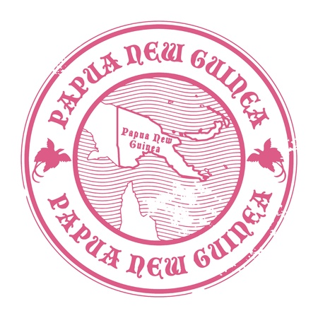 papua: Grunge rubber stamp with the name and map of Papua New Guinea Illustration